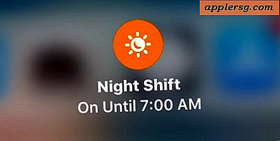 Sådan aktiveres Night Shift i iOS 11 Control Center på iPhone og iPad