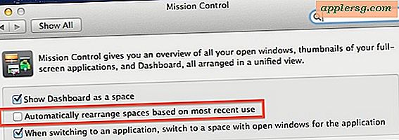 Stop-Spaces von Neuanordnen in Mac OS X