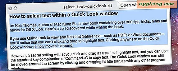 Vælg tekst i Quick Look Windows til Mac OS X