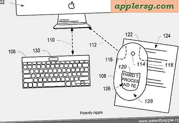 Virtual Keyboard og Magic Mouse med integrert skjerm vist i Apple Patents